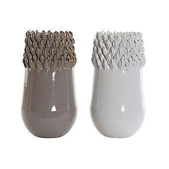 Vase DKD Home Decor White Grey Stoneware Modern (2 pcs) (14 x 14 x 27 cm)