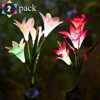 Solar Lily Laternen Bunte Led Simulation Laternen Rasen Lichter Stecker Lichter Garten Dekoration Led Laternen