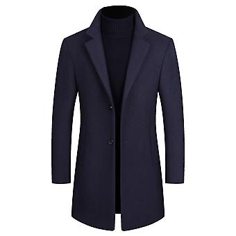 Yunyun Men's Lapel Casual Plain Pocket Two-button Mid-length Overcoat