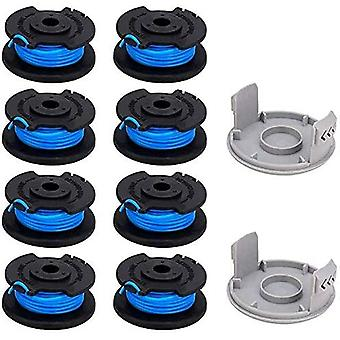 10 Packs 0.065 Inch Line Edger Replacement Spool For Ryobi 18v 24v 40v, Compatible  11ft Cordless Line Trimmer, 8 Spools + 2 Cutting Caps