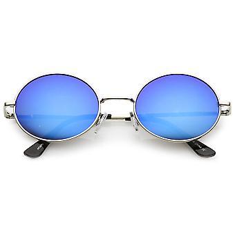 Klassiek lichtgewicht slanke armen gekleurde spiegel Lens plat ovaal zonnebril 50mm