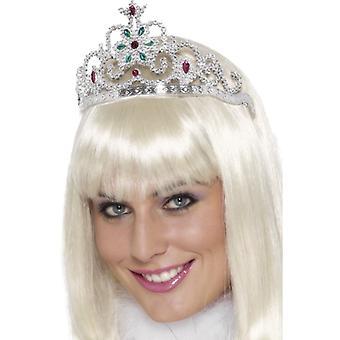 Edelsteen-studded bloemen tiara zilver