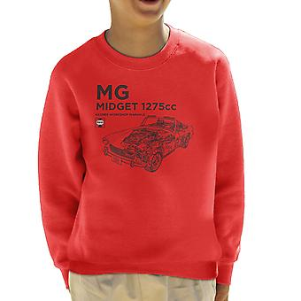 Haynes Workshop Manual MG Midget 1275cc Black Kid's Sweatshirt