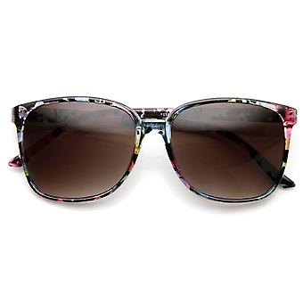 Floral Print High Temple Square Frame Womens Horn Rimmed Sunglasses