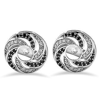 1 / 2ct 14 K vitguld blommig stil svart & vit diamant örhänge jackor