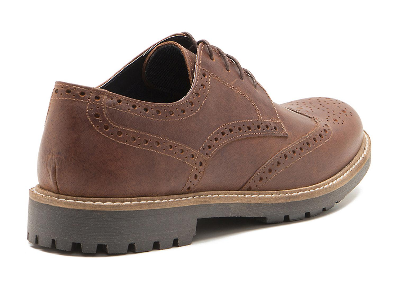 Red Tape Rydal Mens Wood Brown Leather Brogue Gibsons