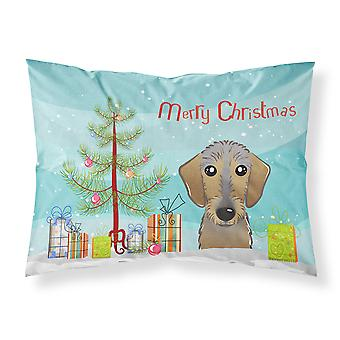 Christmas Tree and Wirehaired Dachshund Fabric Standard Pillowcase