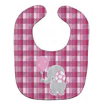 Carolines tesoros BB6948BIB elefante con babero rosa globo