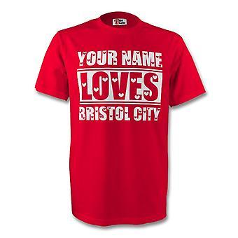 Su nombre le encanta Bristol City camiseta (rojo)