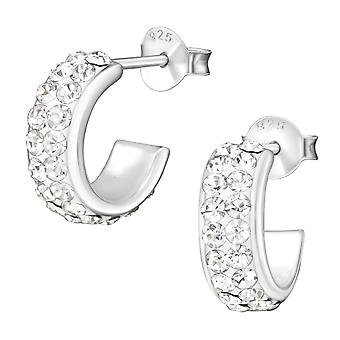 Половины Хооп - 925 стерлингового серебра кристалл уха шпильки - W35859x