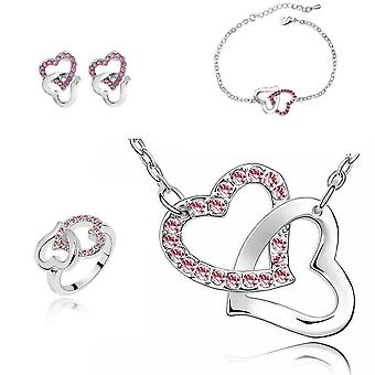 Pink Hearts Jewellery Set With Matching Necklace Earrings Bracelet and Ring