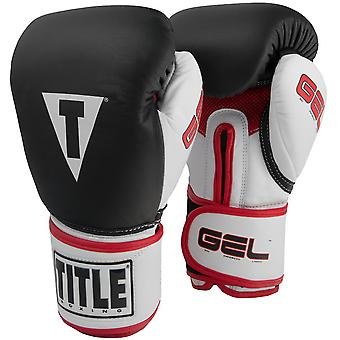 Title Boxing Gel Intense Hook and Loop Bag Boxing Gloves - Black/White/Red