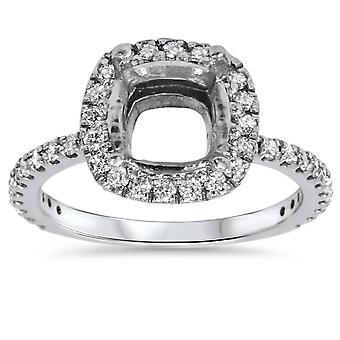 1/2ct párna Halo Diamond Ring beállítása 14K White Gold