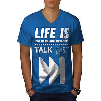 Life is Short Joke Funy Men Royal BlueV-Neck T-shirt   Wellcoda