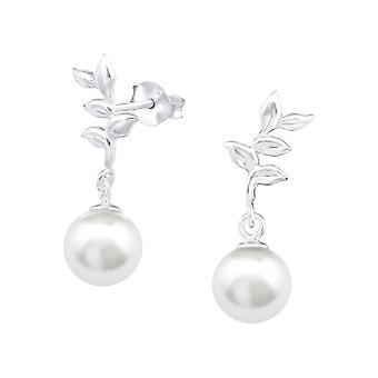 Rama - 925 plata esterlina perlas zarcillos - W33408X