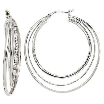 Hoops turned 925 sterling silver rhodium plated with cubic zirconia earrings silver