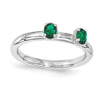 2.5mm 925 Sterling Zilver gepolijst Prong set Rhodium verguld stackable expressies gemaakt Emerald Two Stone Ring Sieraden