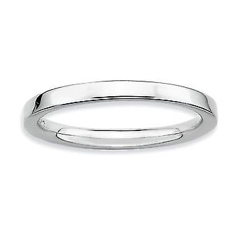925 Sterling Silver Stackable Expressions Rhodium Poli Ring Jewelry Gifts for Women - Taille de l'anneau: 5 à 10