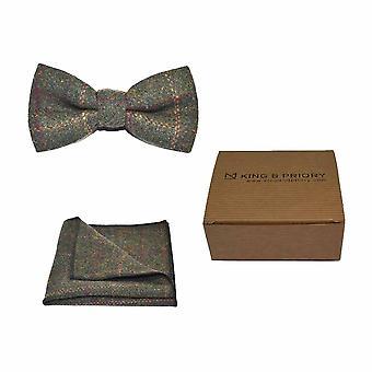 Erfgoed Check mosgroen strikje & zak plein Set - Tweed, geruite land Look | Boxed