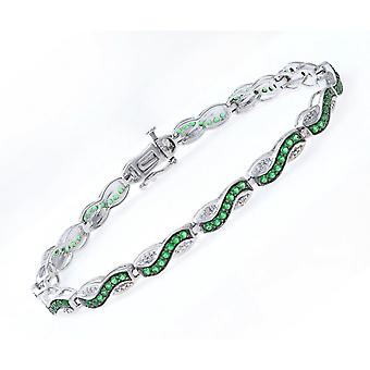 Star Wedding Rings Sterling Silver Bracelet Set With Round Emerald Gem Stone And Diamonds