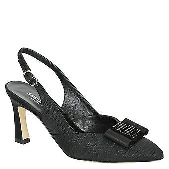 Black satin evening slingback sandals with heels