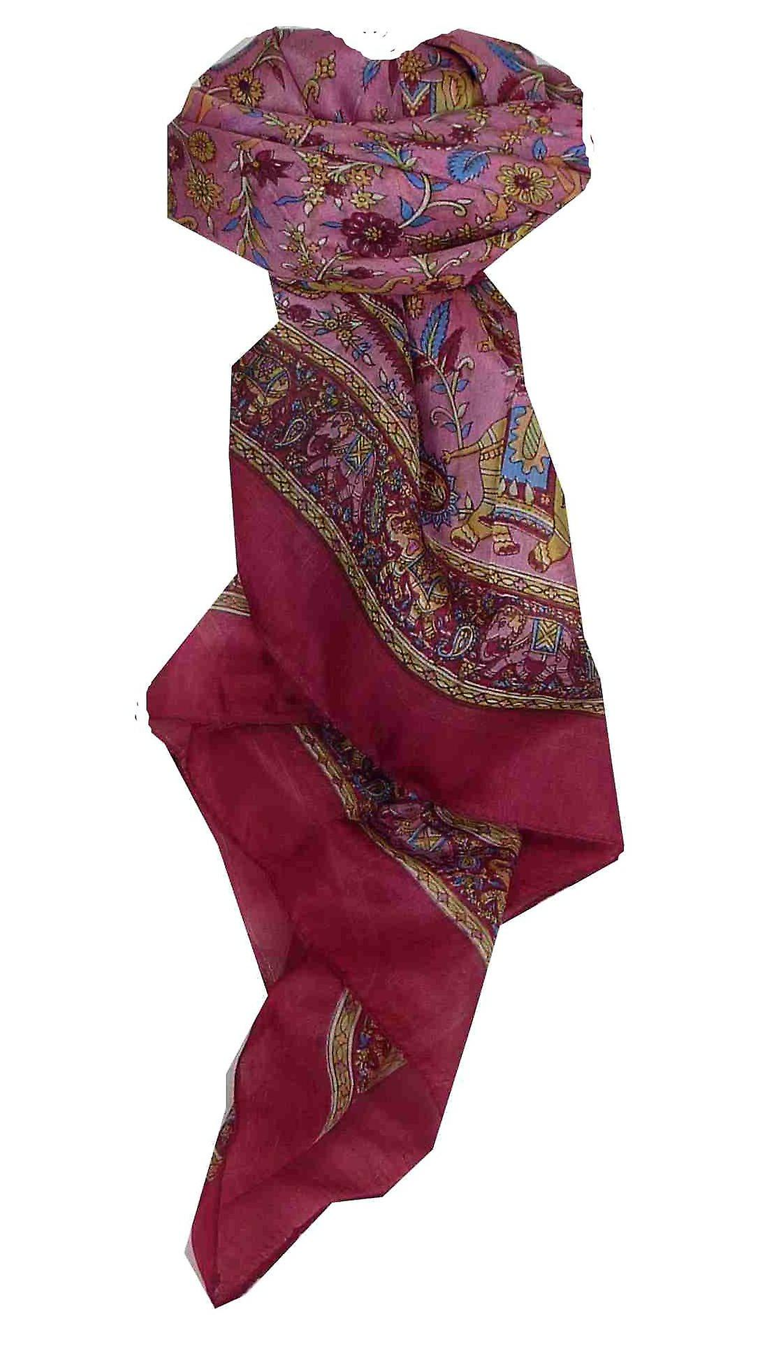 Mulberry Silk Traditional Square Scarf Abhan Carmine by Pashmina & Silk