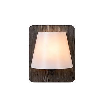 Lucide Idaho moderne Rechteck Holz grau und Opal-Wandleuchte