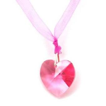 "Kleshna Pink Rhinestone Heart Pendant on 19"" Organza with Magnetic Closure"