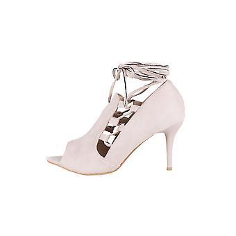 Lovemystyle ankel slips ruskind Peep-Toe sandaler i Beige