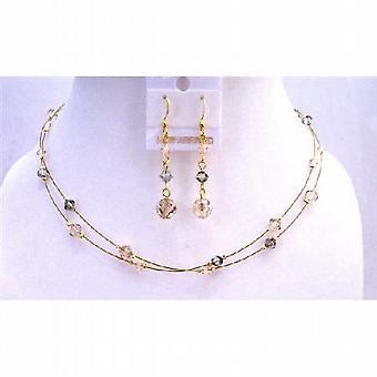 الذهبي بلورات الألوان الثلاثة أسلاك قلادة جولة مجموعة مجوهرات الظل الذهبي