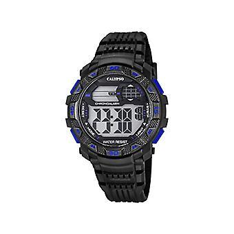 Reloj Calypso digital, con digital Display de LCD y fleje plástico, color: negro, 7 K5702