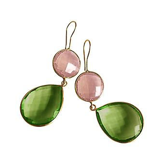 Gemshine earrings rose quartz and peridot drops in 925 silver or gold plated