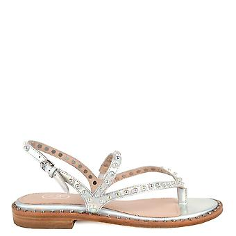 Ash PEARL Sandals In Silver Leather & Studs