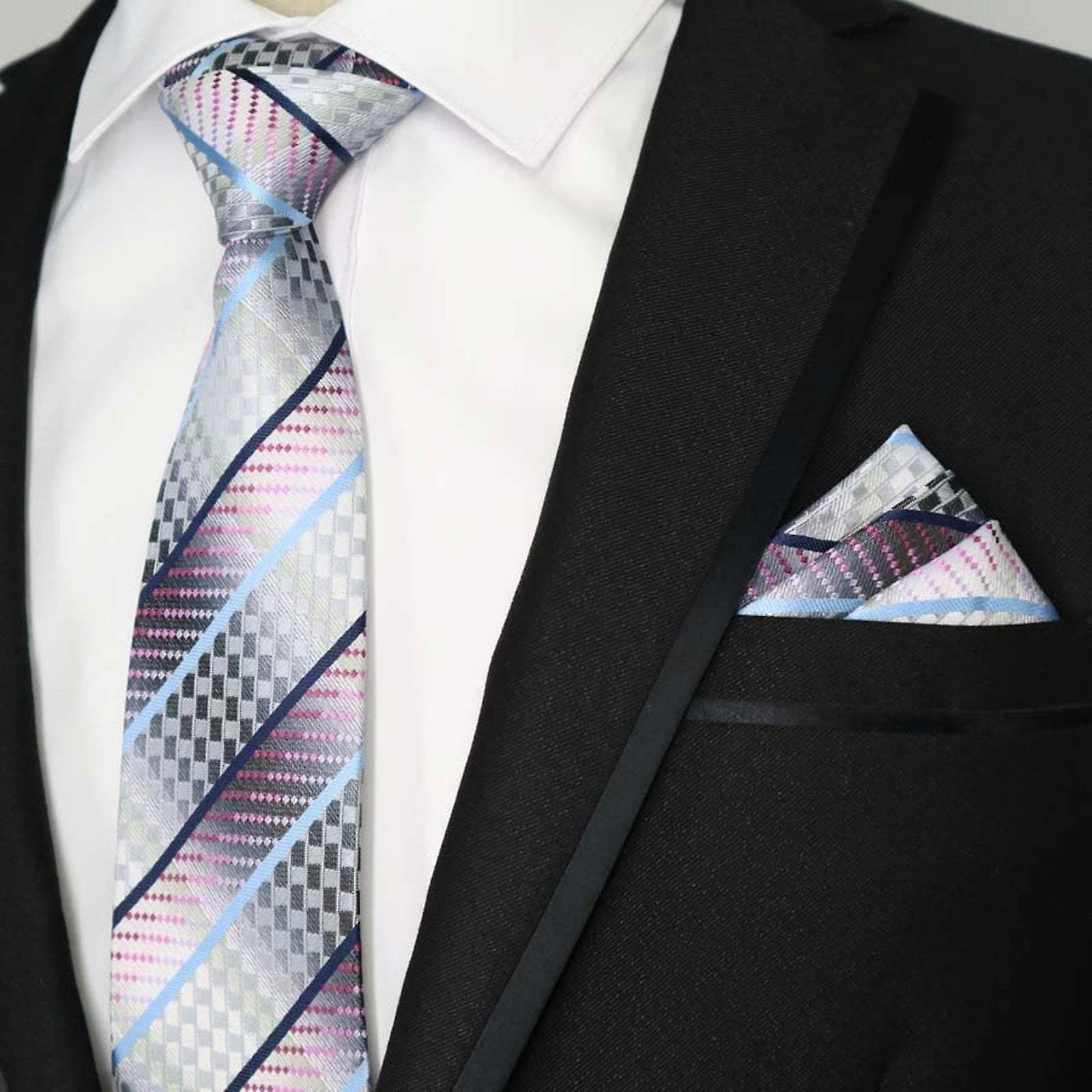 Pink blue silver fish scale pocket square & tie set