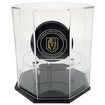 OnDisplay Deluxe UV-Protected Hockey Puck Display Case - Octagon Black Base