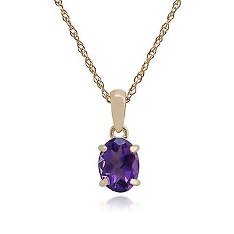 Classic Oval Amethyst Pendant Necklace in 9ct Yellow Gold 9034
