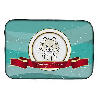 Carolines Treasures BB1517DDM Pomeranian hyvää joulua lautasen kuivaus matto