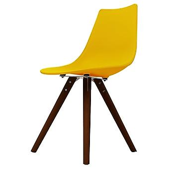 Fusion Living Iconic Yellow Plastic Essstuhl mit dunklen Holz beinen