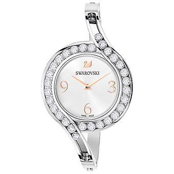 Precioso Swarovski cristales brazalete reloj - pulsera metálica - blanco - Silver-Tone
