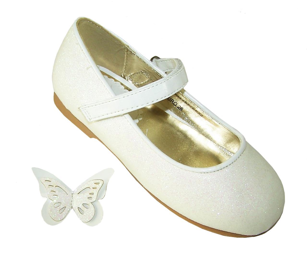 Girls ivory sparkly flower girl ballerina shoes