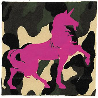 Patch - Animals - Pink Unicorn on Camoflauge Iron On Gifts New Licensed p-1955-c