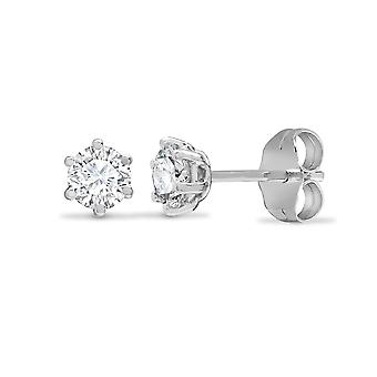 Jewelco London Ladies Solid 18ct White Gold 6 Claw Set Round G SI1 0.5ct Diamond Solitaire Stud Earrings