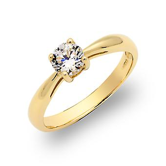 Jewelco London Ladies Solid 9ct Yellow Gold White Round Brilliant Cubic Zirconia Solitaire Engagement Ring