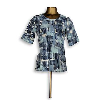 Denim & co. kvinner ' s topp perfekt Jersey trykt albue-ermet blå A347256