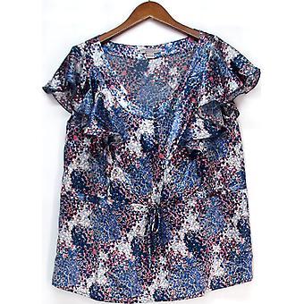 Julie Chai Ken for Anonymity Flutter Sleeve Monet Print Top Blue A214331