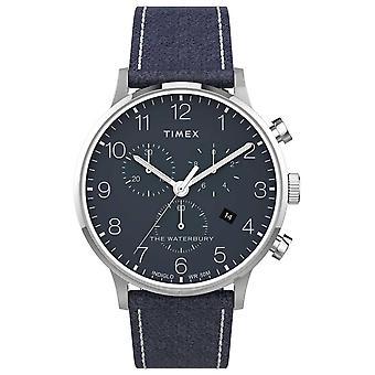 Timex graafi Waterbury Classic Chrono 40mm | Sininen nahka | Sininen Dial | TW2T71300 Watch