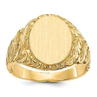 14 k giallo oro Mens incisione dell'anello di Signet - 6,4 grammi - misura 9
