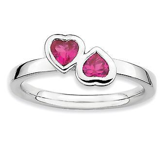 925 Sterling Sølv Ramme Polert Stackable Uttrykk Cr. Ruby Double Love Heart Ring Smykker Gaver til Kvinner - Ring