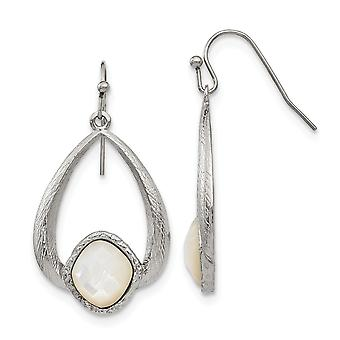 Stainless Steel Polished Textured Simulated Mother of Pearl Earrings