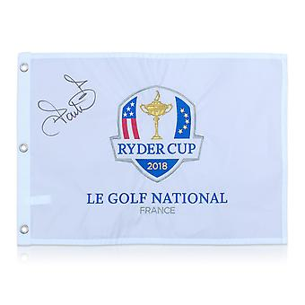 Ian Poulter Signed 2018 Ryder Cup Pin Flag